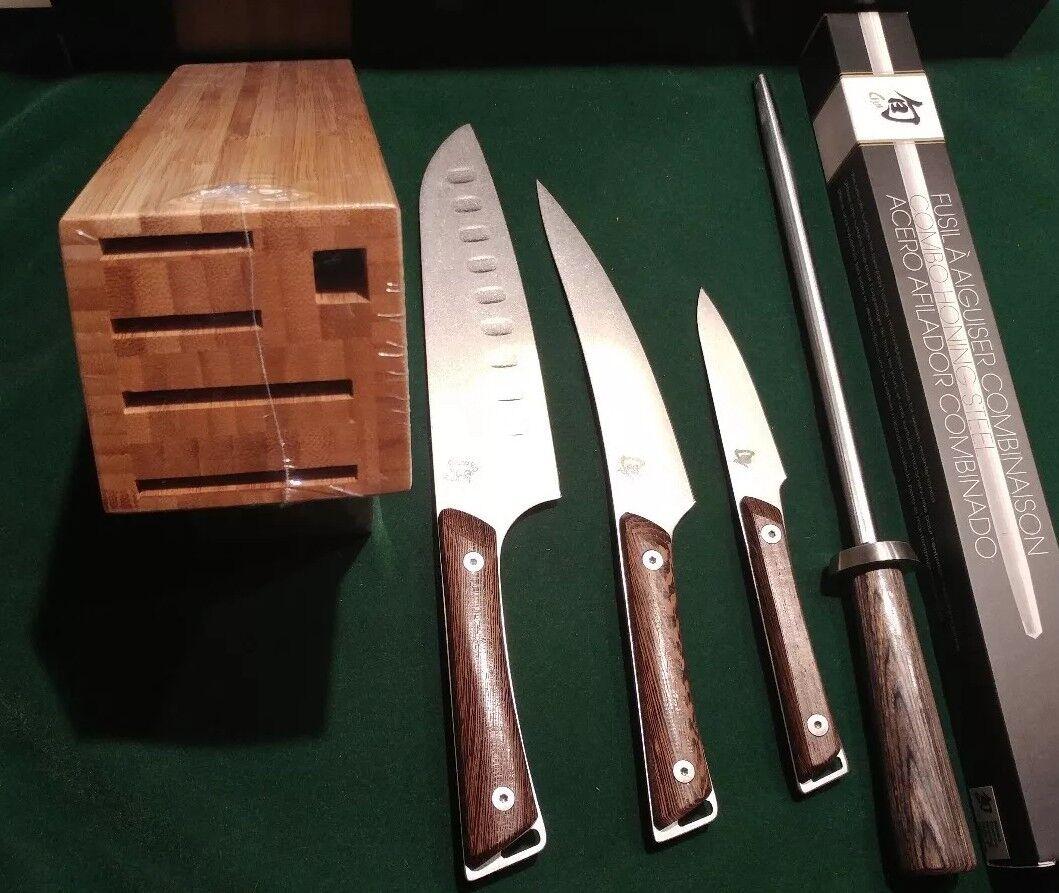 Shun SWTS0510 Kanso set 5-Piece Kitchen Knife Paring Santoku Fillet Honing Steel