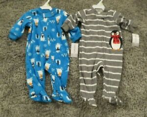 NEW-Carter-039-s-Baby-Boys-2-Piece-Lot-Footed-Fleece-Blanket-Sleepers-3-Months-NWT
