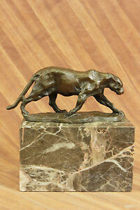 Cougar Panther Jaguar Cat Collector Art Bronze Marble Bookend Sculpture Art Deco
