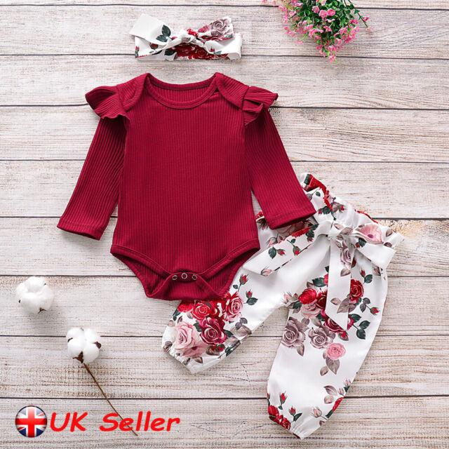 Baby Girls Kids Polka Dot Bodysuit Pant Headbans 3Pcs Set Outfits Sleepsuit UK