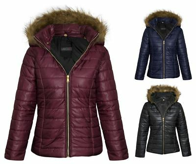 Womens Girls Shiny Matte Look Jacket Fur Hood Quilted Padded Winter Puffa Coat