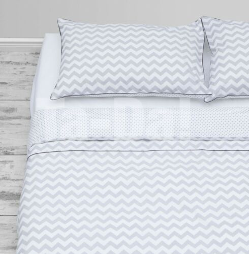 Double//King Size Grey Chevron//Polka dots bedding with grey piping 100/% cotton