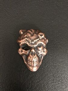 2oz hand poured bar copper skull two ounce copper skull