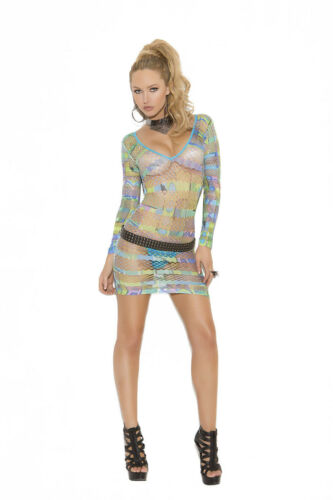 Elegant Moments Rave Dancer Long Sleeve Multicolor Dress in Geometric Print