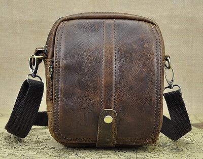 Mens Genuine Leather Cowhide Fanny Cross body Sling Messenger Shoulder Waist Bag