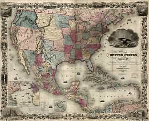 Mexico Map 1850.1850 Map United States America Mexico Antique Decor 24 X20 Print