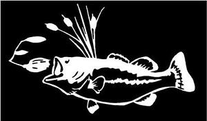 Bass with spinner fish fishing boat truck bait sticker fun WHITE Vinyl Decal