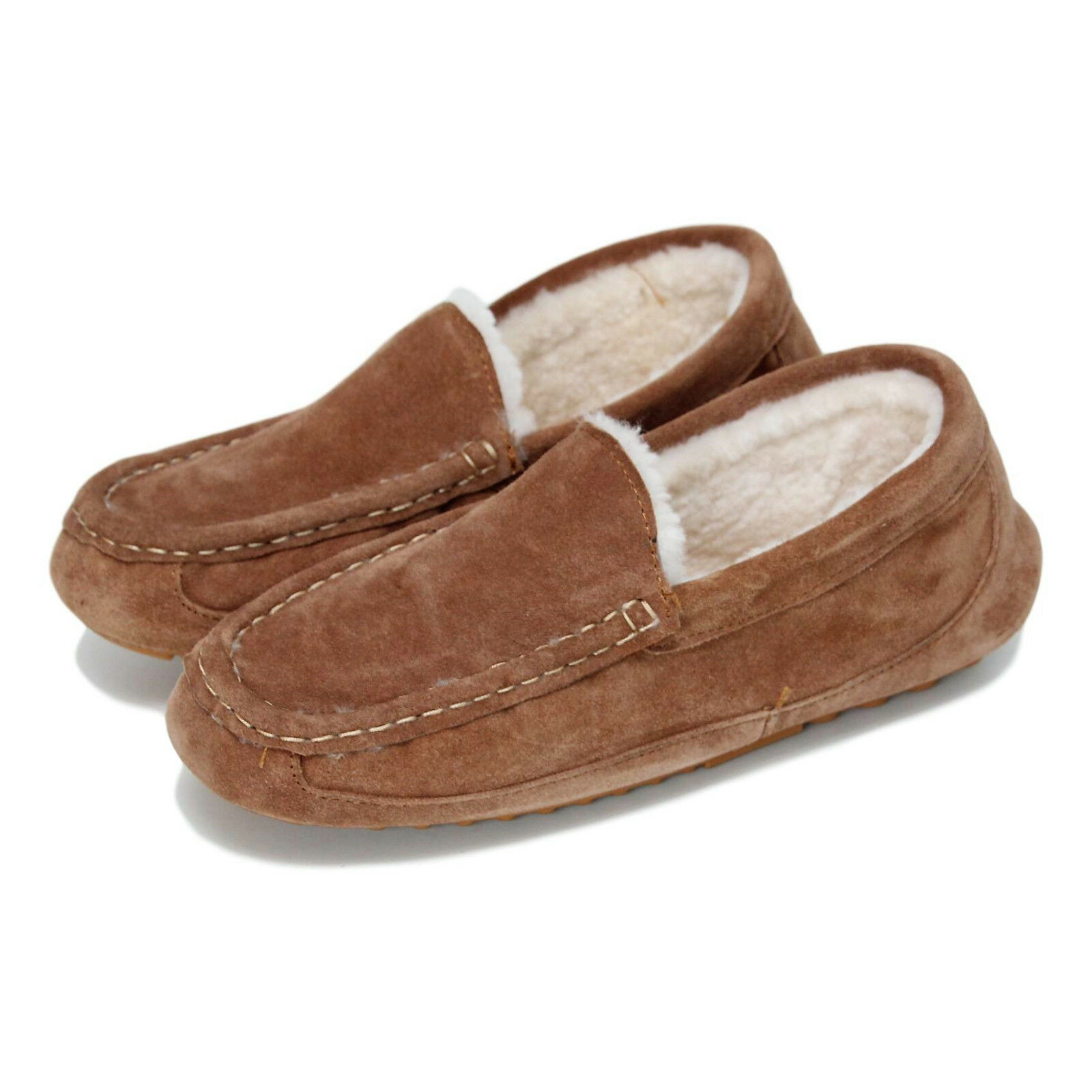 Deluxe Men's Sheepskin Moccasin Slippers with Hard Sole & FREE RETURNS