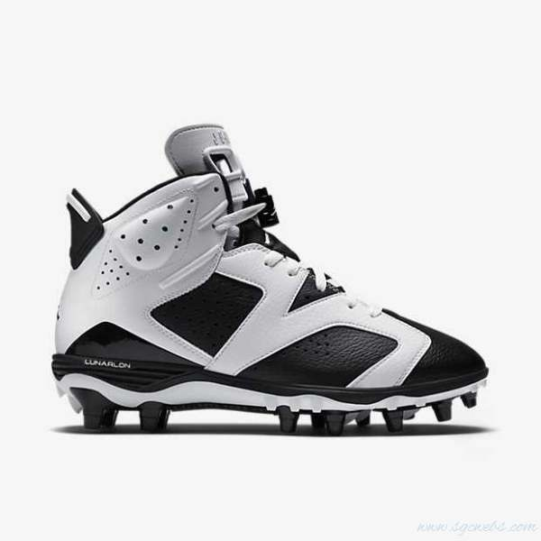 NEW MEN'S AIR JORDAN 6 IV RETRO TD FOOTBALL CLEATS 645419-110 BLACK WHITE RARE