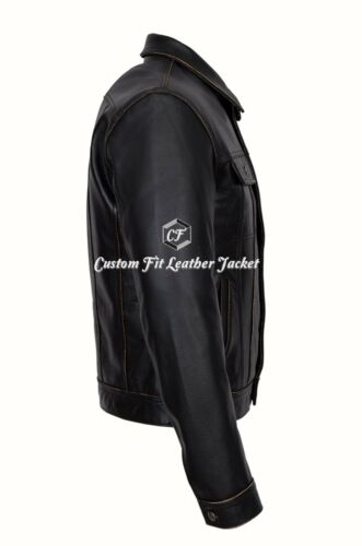 Men/'s  /'TRUCKER Leather Jacket Black Rub Off 100/% REAL COWHIDE Denim Style 1280
