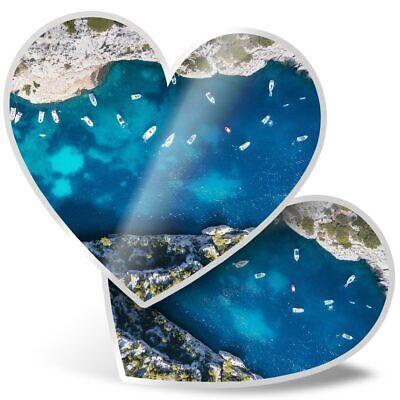 2 x Heart Stickers 7.5 cm Tropical Beach Summer Holiday Island  #16727