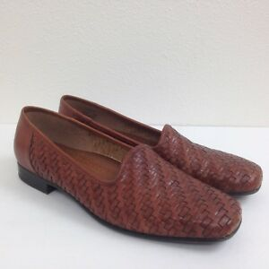 Women-039-s-NATURALIZERS-Cognac-Brown-Leather-Woven-Slip-On-Casual-Shoes-Size-8-M