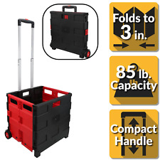 Folding Portable Utility Storage Shopping Laundry Carrier Cart In Blackred New
