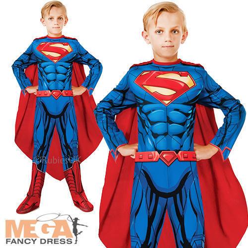 Superman Boys Fancy Dress DC Comic Book Superhero Kids Childrens Costume Outfit