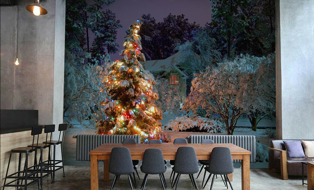 3D Lights Tree Night 8 Wall Paper Murals Wall Print Wall Wallpaper Mural AU Kyra