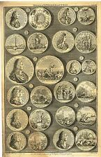"""Medals of K. William and Q. Mary"" from Rapin's HISTORY OF ENGLAND  Pl XII -1745"