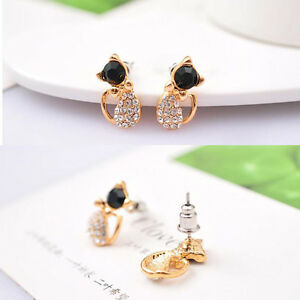1-Pair-Safety-Babys-Girls-Cute-Cat-Stud-Earrings-Ear-CZ-Gold-Plated-Ear-Rings