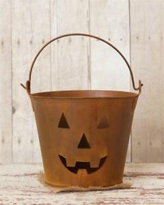 Country-Distressed-new-JACK-O-LANTERN-face-rusty-tin-bucket-w-handle