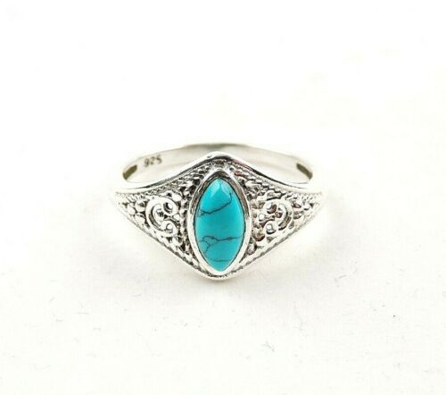 Sterling Silver 3.0 ct Turquoise Cabochon Filigree Ring Free Gift Packaging