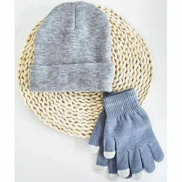 Knitted Hat And Gloves Set Grey