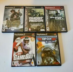 Lot-Of-5-Games-For-PS2-Top-GUN-Ghost-Recon-Splinter-Cell-Medal-of-Honor