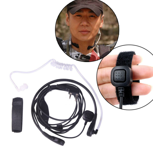2PCS Hide Acoustic Tube Earpiece PTT Throat MIC Headset for Kenwood Baofeng HYT