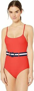 JESSICA-SIMPSON-Ribbed-Belted-One-Piece-Swimsuit-sz-M-Medium-Red-Blue