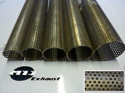 """2.25/"""" 57.15mm Exhaust 10/"""" Long Repair Pipe Perforated Tube Stainless Steel 250mm"""