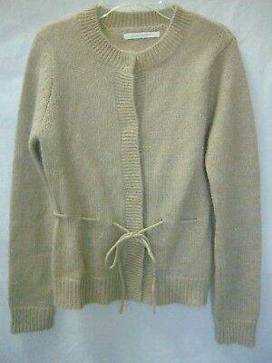 sleek hot sale large discount COTE FEMME Beige,Gold Metalic 42% Mohair Draw-Waist Cardigan Sweater NEW sz  2-4 | eBay