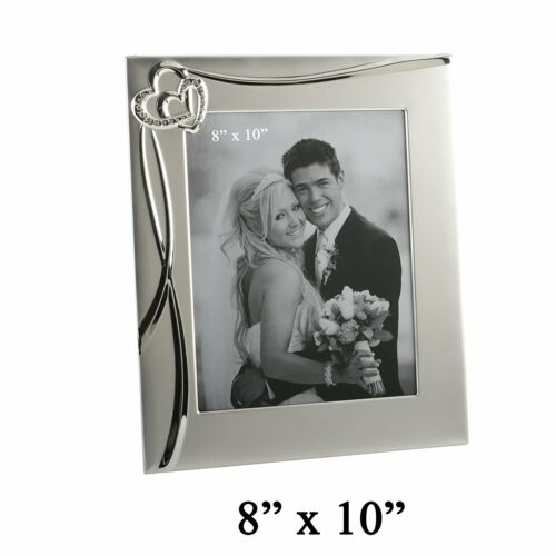 "Personalised 5x7/"" 8x10/"" Juliana Waves /& Hearts Wedding Photo Frame Add message"