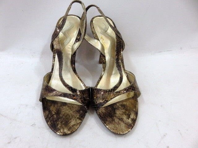 Mima gold Snakeskin Print Strappy Classic Heels Size 7.5
