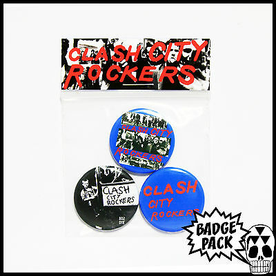 The Clash - Clash City Rockers Button Badge Pack - 3 x 25mm Button Badges