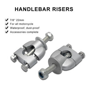 Universal-7-8-Bars-22mm-Raise-Motorcycle-Handlebar-Bar-Raisers-Spacers-Silver