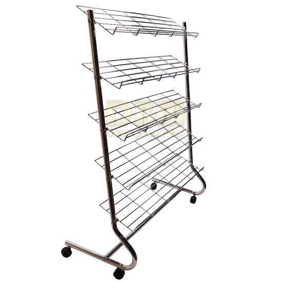 Chrome 5 Tier Shelves SHOE Retail DISPLAY RACK Closet Organizer Storage Wheels