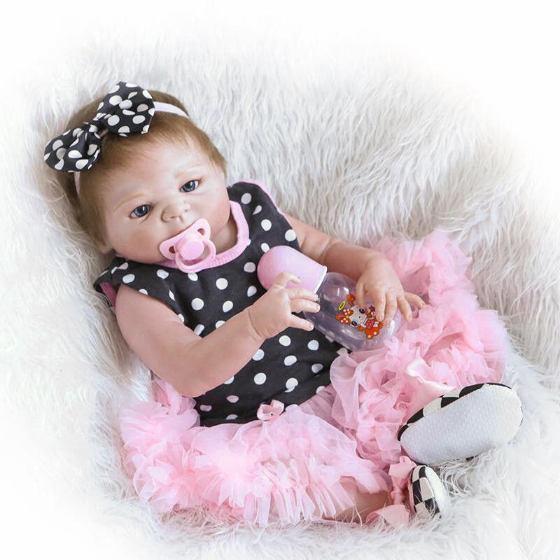 22''Handmade Full Silicone Lifelike Baby Girl Doll Reborn Newborn Dolls Gift JR