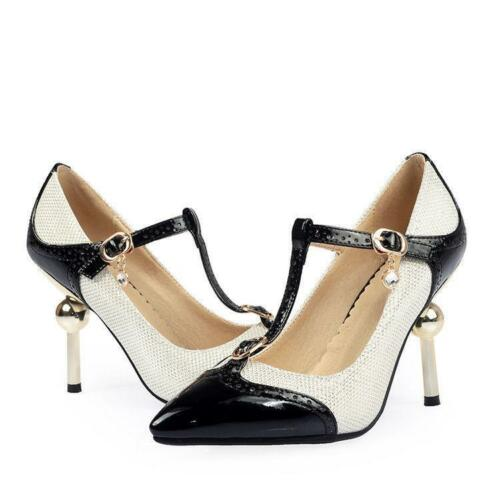 Women/'s Mary Jane T-Strap High heels Pointy Toe Stilettos Pumps Shoes Pumps New
