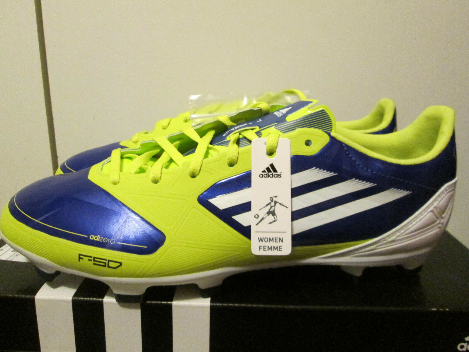 Adidas Adizero F30 TRX FG blu bianca Lime Lightweight Soccer Cleats Dimensione 9 NEW