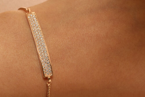 Adjustable Rose Gold Finish 18k Diamond Tennis Bracelet 7.5 Inch long 0.5ct