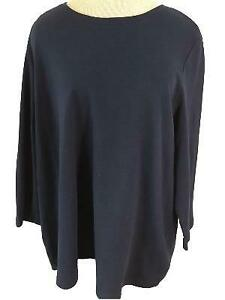 Laura-Scott-Woman-top-size-2X-dark-blue-3-4-sleeve-cotton