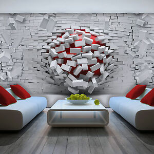 vlies tapete fototapete tapeten 3d ziegel rot kugeln wand weiss 13n3005vexxl ebay. Black Bedroom Furniture Sets. Home Design Ideas