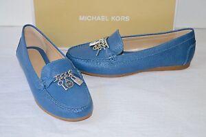 87a915ac67e New  120 Michael Kors Suki Moc Denim Blue Leather Loafer Silver ...