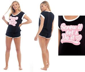 Ladies-Ann-Summers-Pyjamas-100-Jersey-Cotton-Shorts-Summer-T-Shirt-Black-PJ-039-s