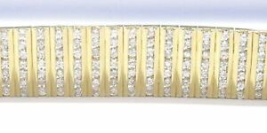 WIDE-Round-Diamond-Tennis-Bracelet-18KT-Yellow-Gold-11-9mm-7-26Ct-G-VS