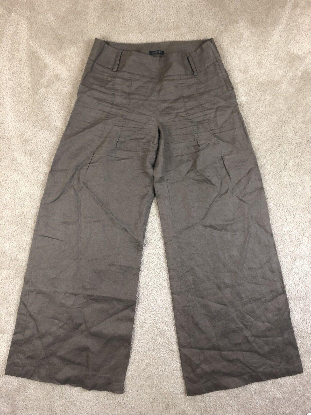 Tahari Pants Size 6 Brown 100% Linen Stitch Detail Flare Wide Leg Side Zip