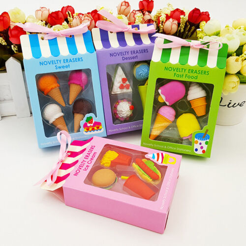 4pcs Creative Cute Food ice Cream Cake Eraser Drink Coke Eraser Set Stationery