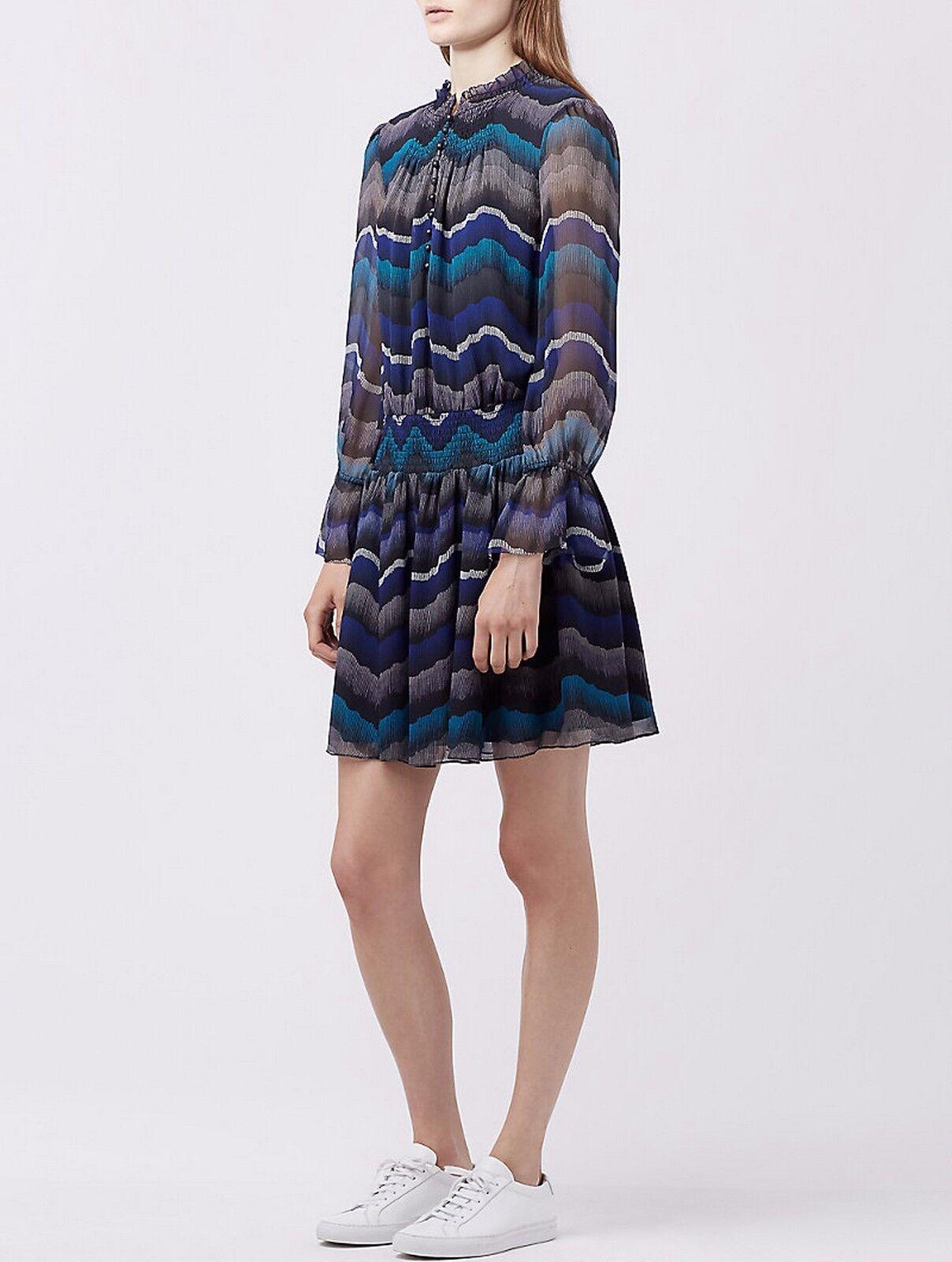 Neuf avec étiquettes Diane Von Furstenberg DVF Imprimer Bell hommeches 100% Soie Robe, sz 6, les fabricants Standard prix de détail  398