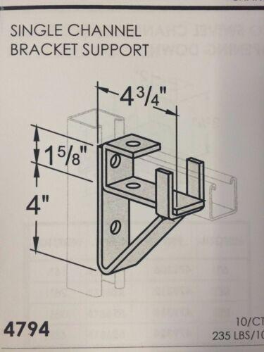 "B-Line Channel #4794 P1075 QTY 10 Support Bracket for Single 1-5//8/"" Unistrut"