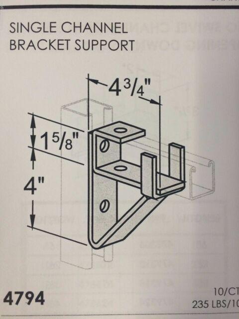 """B-Line Channel #4794 P1075 Support Bracket for Single 1-5//8/"""" Unistrut"""