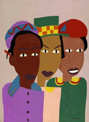 Three Friends by William H Johnson   Giclee Canvas Print Repro