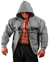 Charcoal Grey Bodybuilding Clothing Zip Hoodie Workout Top G-51